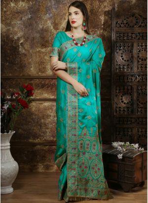 Most Demanded Teal Designer Saree In Silk Fabric