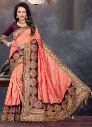 Most Demanded Two Tone Vichitra Silk Embroidered Designer Saree