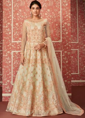 Most Demanded Wedding Wear Cream Floor Length Anarkali Suit