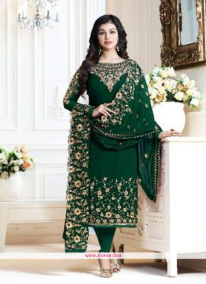 Most Demanding Green Embroidered Georgette Designer Salwar Suit