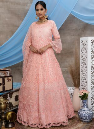Most Demanding Peach Stone Pasting Net Anarkali Suit