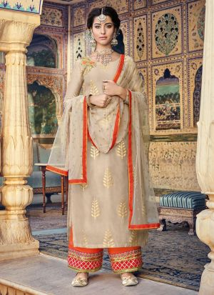 Most Popular Beige Straight Suit For Party