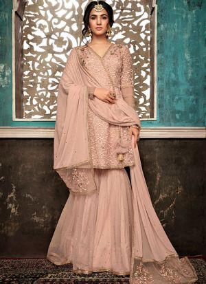 Most Popular Ceremony Wear Peach Sharara Suit