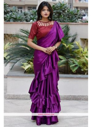 Most Popular Dark Purple Altra Sattin Plain Indian Ruffle Saree