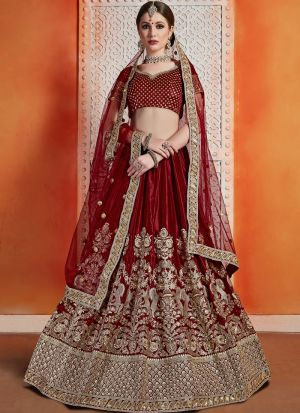 Most Popular Designs Of Maroon Bridal Lehenga Choli With Soft Net Dupatta