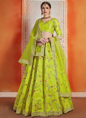 Most Popular Designs Of Neon Green Designer Lehenga Choli With Soft Net Dupatta
