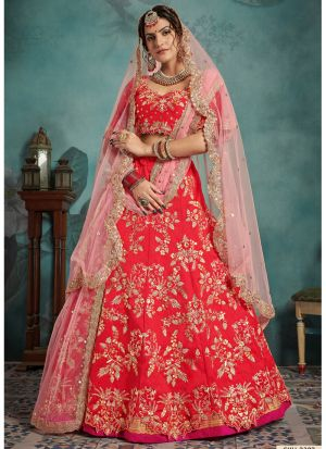 Most Popular Designs Of Red Designer Lehenga Choli With Soft Net Dupatta