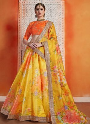Most Popular Designs Of Yellow Designer Lehenga Choli With Organza Dupatta