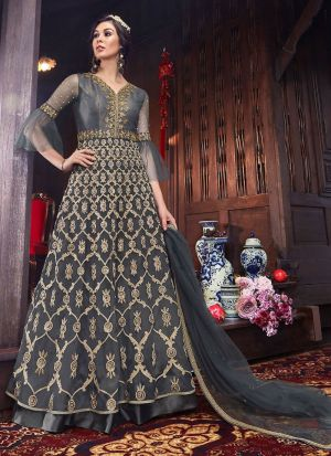 Most Popular Grey Floor Length Anarkali Suit For Wedding