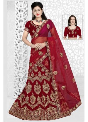 Most Popular Maroon 9000 Velvet Wedding Designer Bridal Lehenga Choli