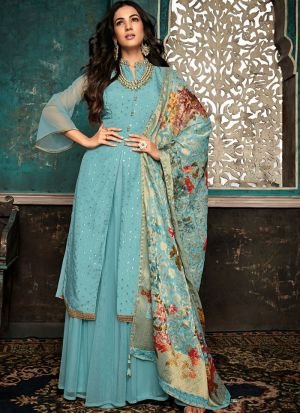 Most Popular Turquoise Gown Style Anarkali Suit For Ceremony