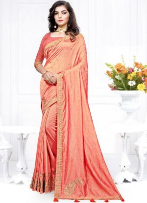 Most Popular Two Tone Vichitra Silk Embroidered Indian Saree