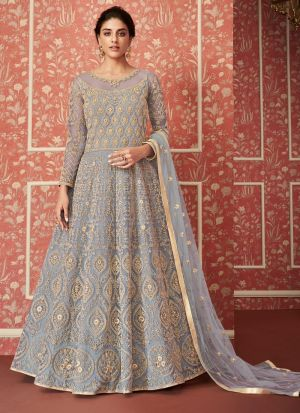 Most Popular Wedding Wear Grey Floor Length Anarkali Suit