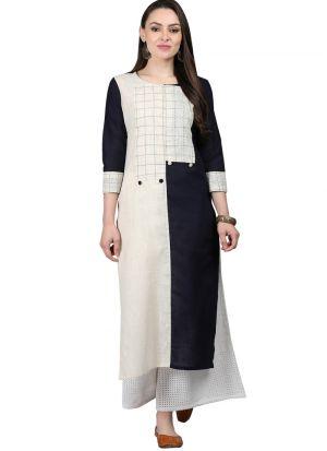 Multi Color Cotton Slub Designer Kurtis For Girl