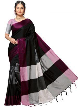Multi Color Handloom Chex Silk Latest Design Festive Wear Saree