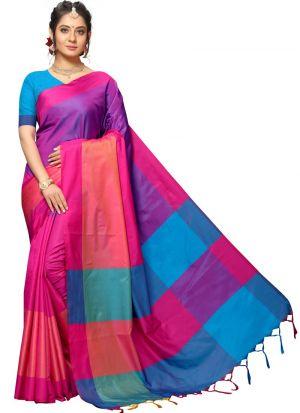 Multi Color Traditional Handloom Chex Silk Saree