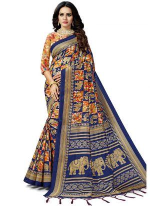 Multi Color Traditional South Indian Wedding Art Silk Saree