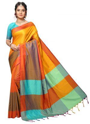 Multi Colour Traditional Handloom Chex Silk Saree