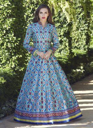 Muslin Cotton Firozi Anarkali Style Flared Kurti