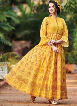 Muslin Cotton Yellow Anarkali Style Kurti