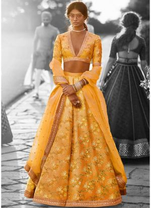 Mustard Thai Silk Bridal Lehenga Choli For Wedding