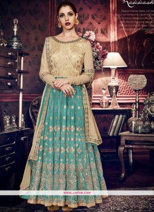 Nakkashi 11056 Green Silk Traditional Anarkali Salwar Suit