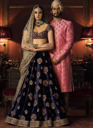 ee003273be ... Navratri Special Navy Heavy Embroidery Sabyasachi Lehenga Choli with  Dupatta