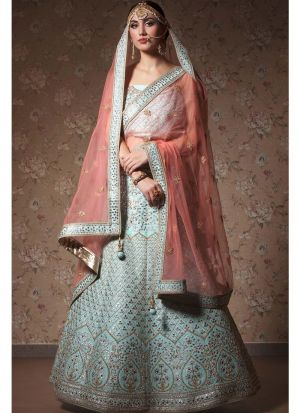 Navratri Special Sky Blue Heavy Embroidery Designer Lehenga Choli
