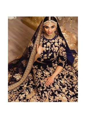 Navy 9000 Velvet Bridal Lehenga Choli For Wedding