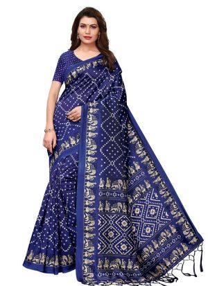 Navy Art Silk Printed Designer Traditional Saree