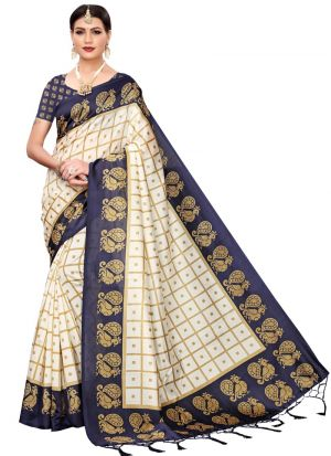 Navy Art Silk Printed Latest Indian Saree