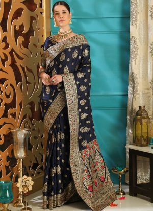 Navy Blue Traditional Silk Saree With Embroidered