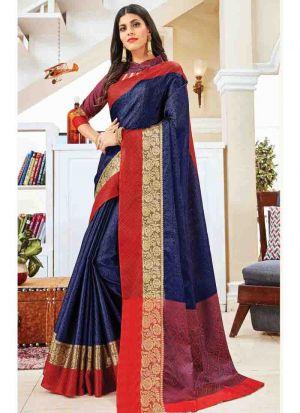 Navy Elegant Handloom Silk Saree
