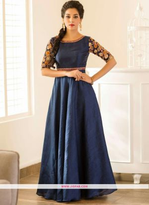 Navy Embroidered Traditional Designer Gown