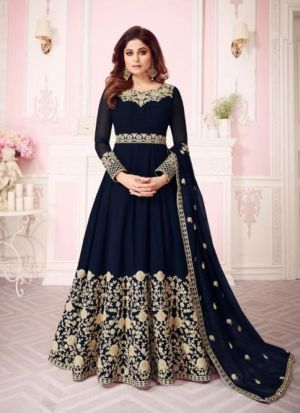 Navy Georgette Embroidered Floor Length Anarkali Suit