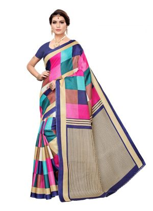 Navy Khadi Silk Printed Saree