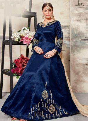 Navy Malbari Silk Salwar Suit For Eid Wear