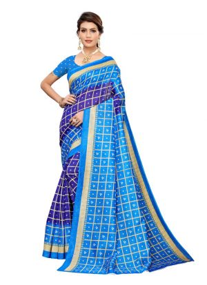 Navy Printed Art Silk Bandhani Checks Saree