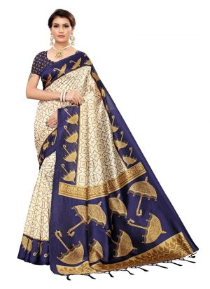 Navy Printed Art Silk Traditional Designer Sarees