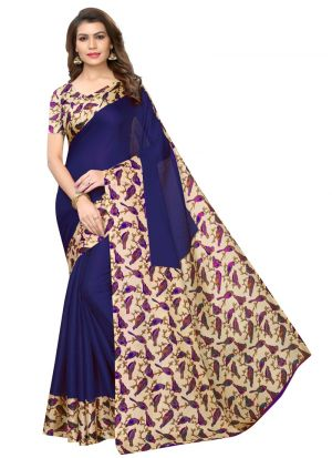 Navy Printed Khadi Silk Saree