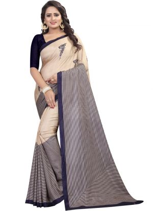 Navy Printed Malgudi Silk Saree