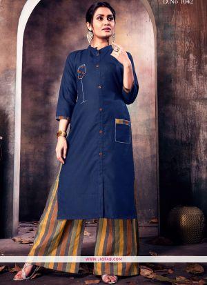 Navy Ruby Cotton Plain Heavy Designer kurti