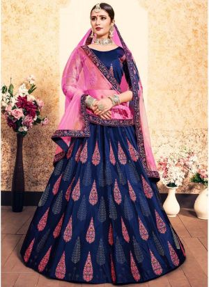 Navy Satin Designer Lehenga Choli For Sangeet
