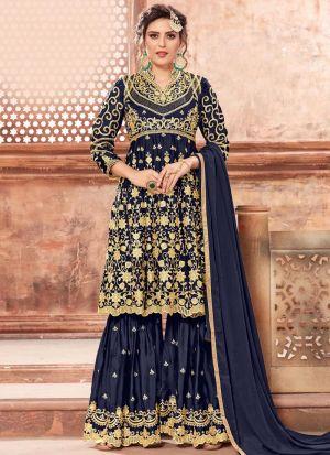 Navy Satin Georgette Salwar Suit For Eid Wear