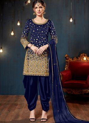Navy Taffeta Silk Salwar Suit For Eid Wear