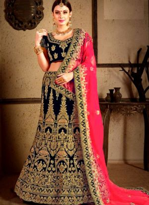 Navy Wedding Bridal Lehenga Choli In Velvet Fabric
