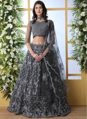 Net Grey New Arrivals Lehenga Choli Collection
