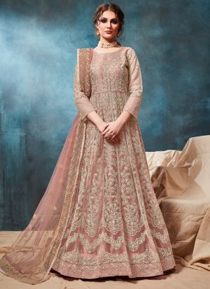 Net Peach Party Wear Anarkali Style Suit