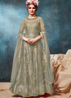 Net Sage Color Admire Floor Length Anarkali Suit
