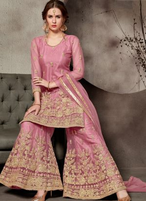 New Arrival Baby Pink Designer Sharara Suit